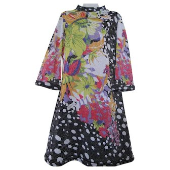Vintage Emilio Bellini 60s 70s Dress Floral Polka Dot Psychedelic Silk Lurex Metallic Italy