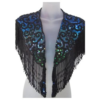 Vintage 1990s Sequin Beaded Holiday Party Shrug / Capelet or Scarf / Shawl