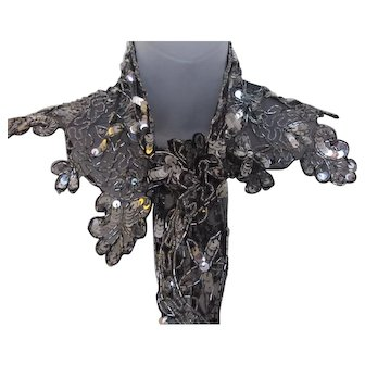 Gorgeous Vintage 90s  Holiday Party Silver Metallic Sequin Scarf or Shrug /or 25th Anniversary !