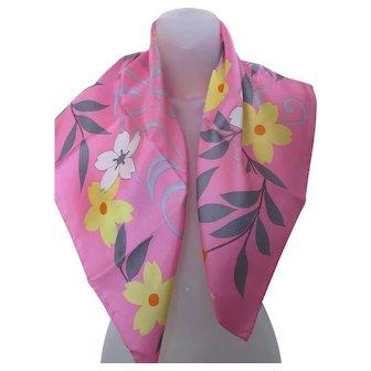 Gorgeous Vintage Hanae Mori Pink Floral Scarf