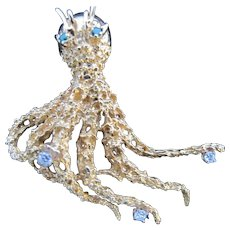Exquisite Vintage 18K Gold Diamond Bubble Emerald Eyes Octopus Pin Brooch 16+ Grams!