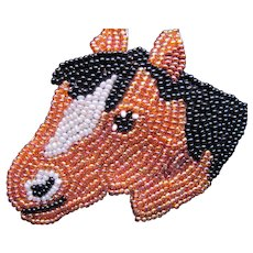 Exquisite Hand Beaded Horse Pin
