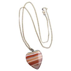Vintage Banded Agate Heart Pendant on Gold Filled Chain Necklace or Charm