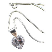 Sterling Silver Heart Pendant on Sterling Silver Chain Necklace  or Charm