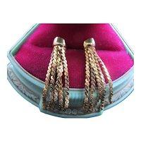 14K Gold Tassel Earrings Pierced Posts