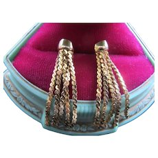 14K Gold Tassel Earrings Pierced Posts