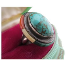 Vintage Turquoise Ring Sterling Silver Signed MD Southwestern Tribal Coral Malachite Onyx Inlay or Surround / Halo