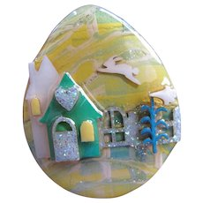 Vintage Lucinda Pin Easter Egg House PIn with Single Flying Rabbit and Easter Lily Miniature Artwork