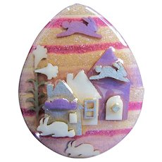 Vintage Lucinda Pin Easter Egg House PIn with Double Flying Rabbit and Easter Lily Miniature Artwork