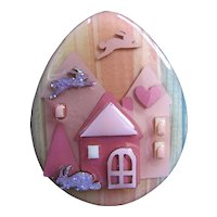 Vintage Lucinda Pin Easter Egg House PIn with Double Flying Rabbit Miniature Artwork