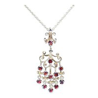 Vintage 14K Gold Garnet Necklace Pendant on Chain Red for Happy Valentines Day