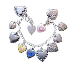 Vintage Puffy Heart Sterling Silver Charm Bracelet Enamel Forget Me Not