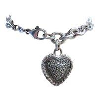 Sterling Silver Marcasite Heart Charm Bracelet