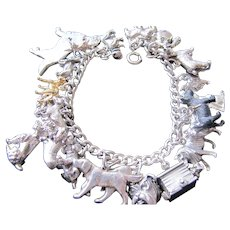 Awesome Vintage Who Do You Love Sterling Silver Dog Charm Bracelet