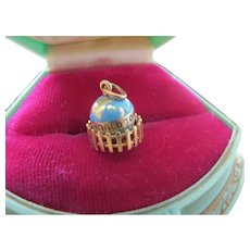 """Vintage 14K Gold Enamel Globe or World Love Charm """" You Mean The World To Me """""""