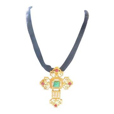 Vintage Elizabeth Taylor Katharina Jeweled Cross Pin Pendant on Velvet Cord Necklace
