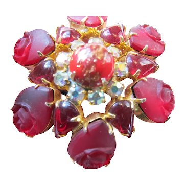Vintage Red Molded Glass Rose Rhinestone Flower Pin Unsigned