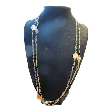 """Vintage Caged Agate Necklace Long 48"""""""