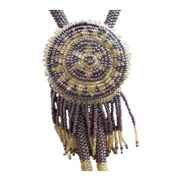 Vintage Beaded Bolo Tie or Lariat Necklace Sunburst Southwestern Tribal