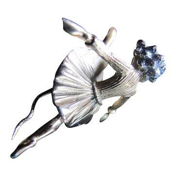 Vintage Rare Trifari Ballet Dancer or Rockette !  Lapel Pin Signed