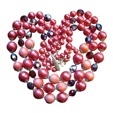 Vintage Red 3 Strand Vendome Bead Necklace