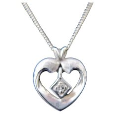 Vintage 14K White Gold Heart Diamond Necklace