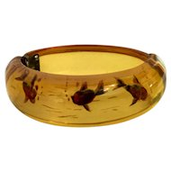 INCREDIBLY RARE 1930s Apple Juice BAKELITE Reverse Carved FISH Hinged Bracelet