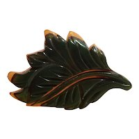 1930s Two-tone Cast Carved Bakelite 2-color Brooch Pin Leaf