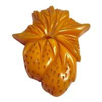 1930s Bakelite Carved Figural Strawberries Dress Clip/Brooch