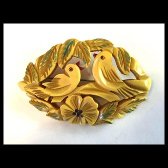 1930s Bone Bakelite Carved and Painted Lovebirds Brooch Pin