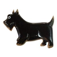 1930s Black Bakelite and Laminated Wood Scotty Dog Pin Brooch