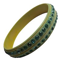 1920s Cream Celluloid and Aqua Rhinestone Sparkle Bangle Bracelet