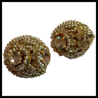 1970s William DeLillo Pearl and Rhinestone Clip on Earrings