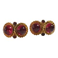 William DeLillo 1960s Fuschia Cabochon Goldtone Clip On Earrings