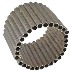 William DeLillo Silvertone Tubular Mid Century Modern style Hinged Bracelet