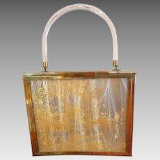 Acrylic Hard Bodied Plastic Purse Handbag 1950s