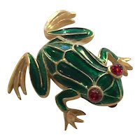 TRIFARI Goldtone and Enamelled Frog Brooch Pin