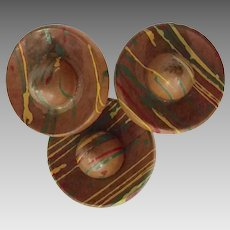 Three (3) 1930s Wooden Figural Mexican Hat Sombrero Buttons