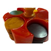 1930s Red Bakelite Poker Chip Holder with Multi Color Bakelite Poker chips