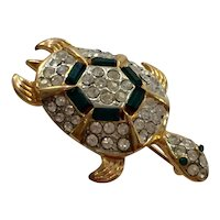 1950s Goldtone Turtle Brooch Pin Green Baguettes and White Diamante