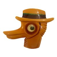 1930s Rare Bakelite Googly Eyed Duck Brooch Pin