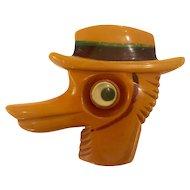1930s Rare Bakelite Googly Eyed Duck Brooch Pin
