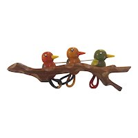 Martha Sleeper 1930s Multicolored Figural Bakelite Brooch Pin Three Birds on a Branch