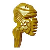 1930s Bakelite Figural Aztec Lizard Cream Colored Carved Button