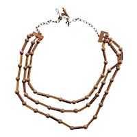 RENOIR of California Mid century Modern Three Strand Copper Necklace
