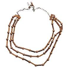 RENOIR of California Mid century Modern Three Strand Copper Necklace