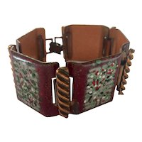 Matisse Red Enamel and Copper Mid century Modern Link Bracelet