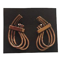 RENOIR of California Mid century Modern RHYTHM Drawn Copper Wire Clip on Earrings