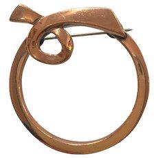 RENOIR of California Mid century Modern Copper Circlet pin Brooch