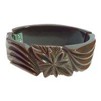1930s Art Deco Brown Bakelite Heavy Carved Hinged Bracelet